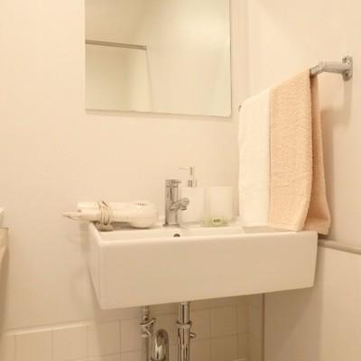 コンパクトな洗面台、タオル掛けが嬉しい!