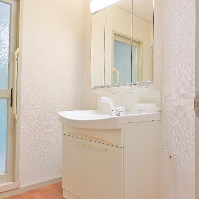 独立洗面台はシンプルなタイプ。