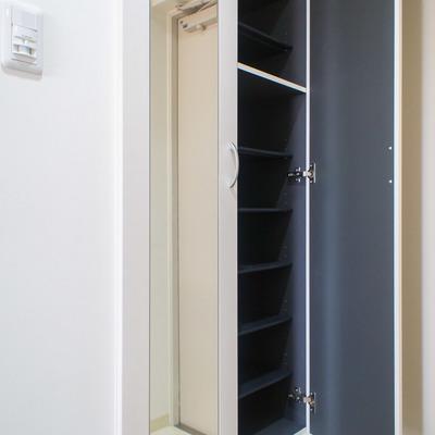 シューズボックスの扉には姿見鏡も備え付け
