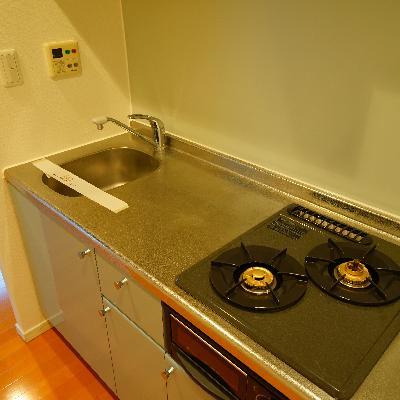 キッチンは2口ガスでゆったり♪