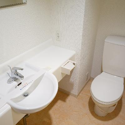 洗面台とトイレは一緒の空間です。