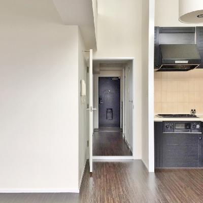 反対側を見ると。キッチンが角っこにあります。