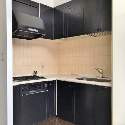 キッチンはL字型。調理スペースが広いです。