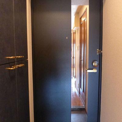 鏡つきの玄関ドア