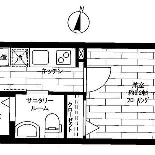 22.68㎡の1kタイプのお部屋