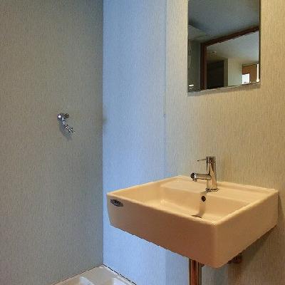 ブルーの落ち着く脱衣所。※写真は別部屋になります。