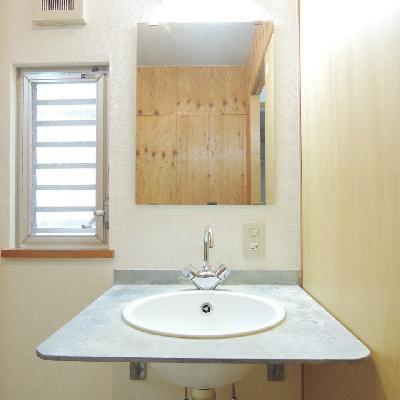 洗面台は簡素な感じ !