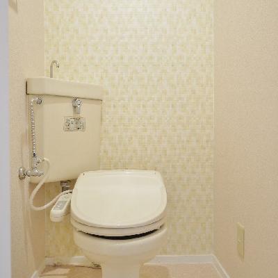 洗浄便座付きのトイレ。