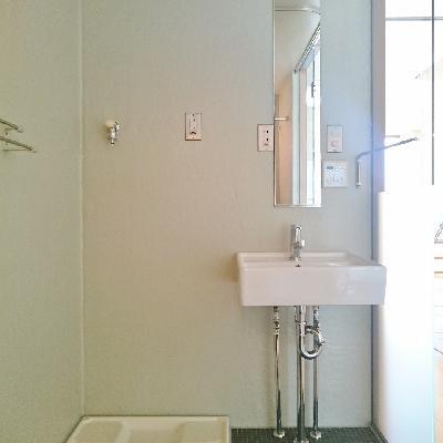お風呂の空間が広くて、反対面に洗面所。