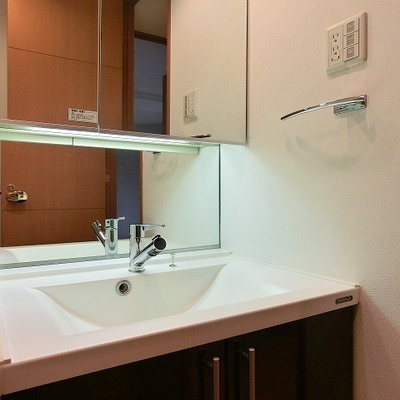 細長くシャワーのように水の出るシャワーノズルのある洗面台。
