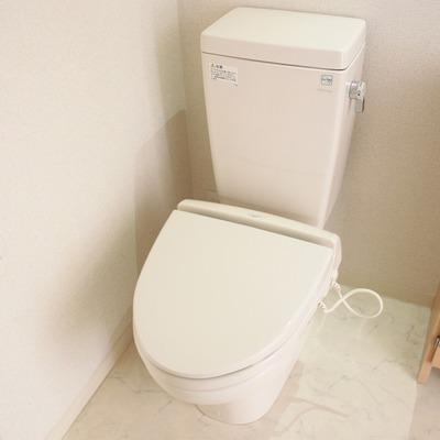 洗面台と隣り合う配置。ウォームレットつき(通電前