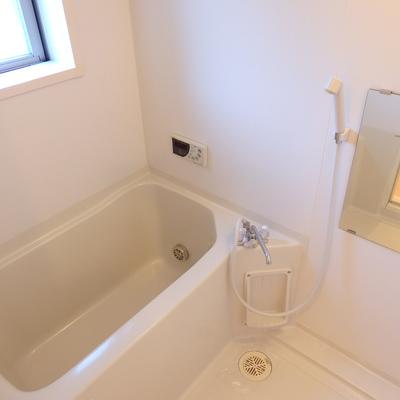 ミラー付きの浴室