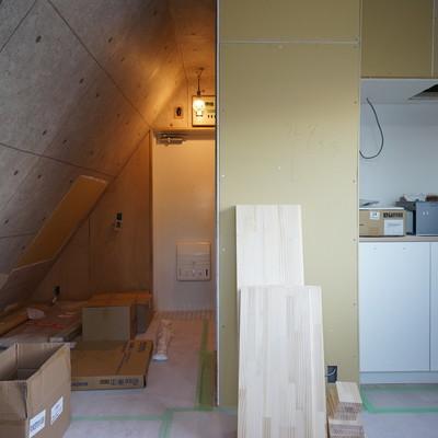 半分斜めの変わったお部屋!※写真は工事中です