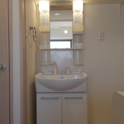 独立洗面台。引き戸で隠せます。