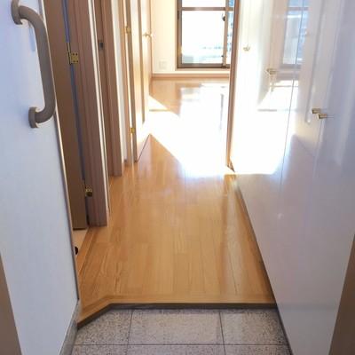 玄関を入ると廊下。靴箱がつるつるで高級感あり!