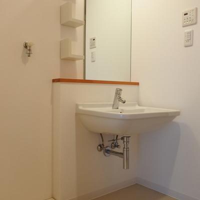 洗面前の木の感じが可愛い♪※写真は別室です