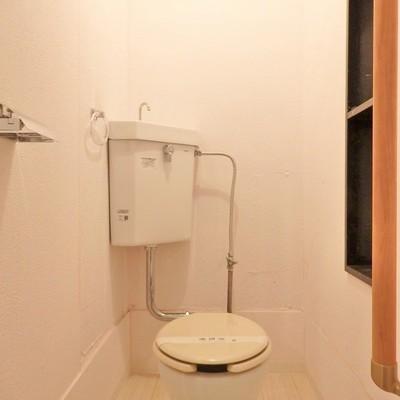 棚が嬉しい。コンパクトなトイレです。