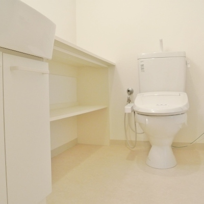 トイレには棚も付いていてなにかと便利※写真別部屋