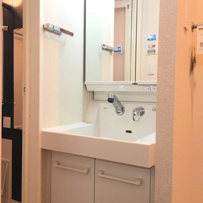 独立洗面台はしっかりと。清潔感あります