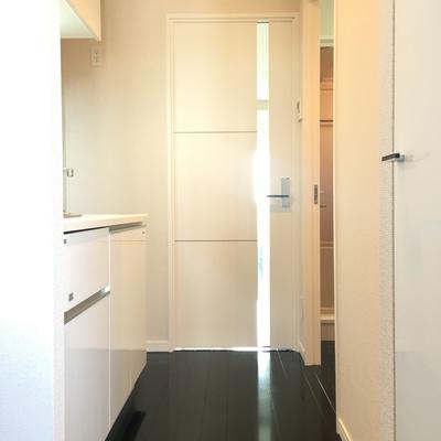 玄関より。白黒の組み合わせの相性。