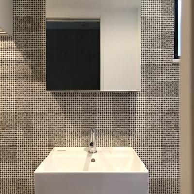 壁がかっこいい独立洗面台