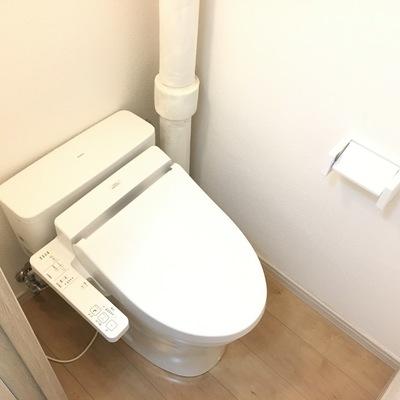 トイレ。むき出しの排水管がリノベっぽくてかっこいい