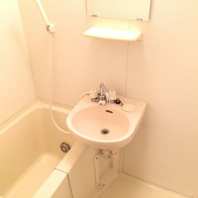 お風呂は普通、コンパクトな2点ユニット。