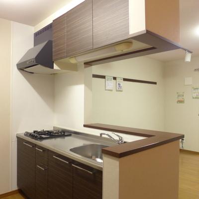 木のカウンターがついたキッチン、いいですね!