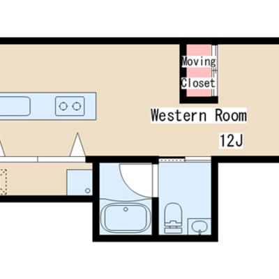 細長い形のお部屋。