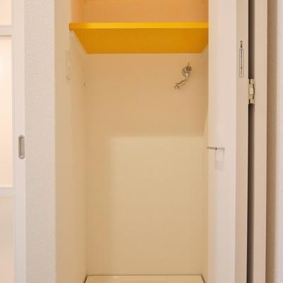 隠せるタイプの洗濯置き場。