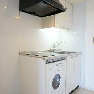 キッチンにミニドラム式洗濯機がついているのです