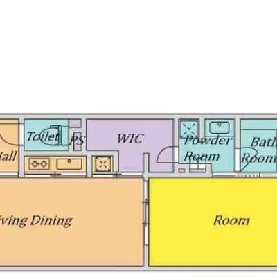 お部屋と平行に水回りがまとまっています。
