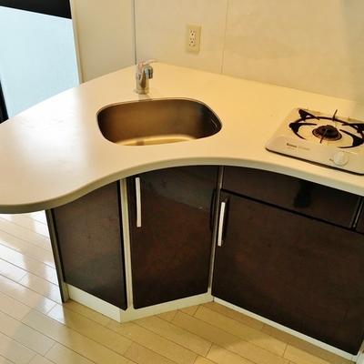 自慢のキッチン。ハート形です!