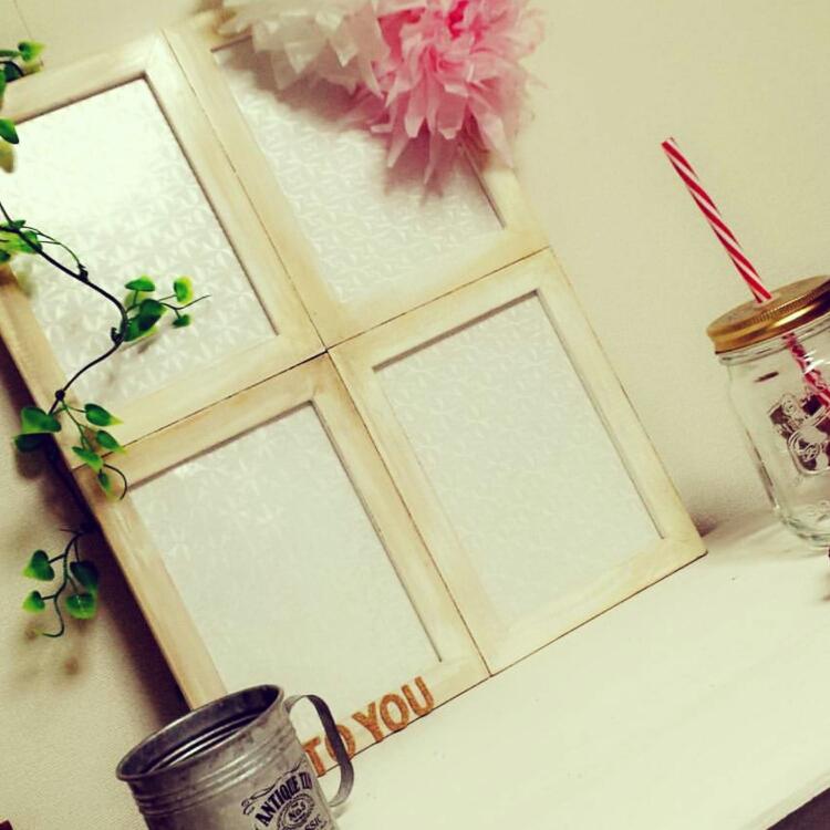 Kitchen/ダイソー/フォトフレーム/100均/セリア/フェイクグリーン/Daiso/seria/簡単DIY/水性塗料/すりガラス風シートに関連する部屋のインテリア実例