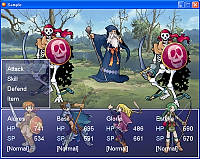 During the battle scene of your own rpg game, you are able to see both the protagonists and enemies at the same with the new front view layout in RPG Maker XP.