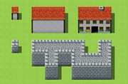 You can easily make this kind of building just by placing the roof and the tiles of the wall.