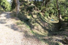 <p>下田城伝天守台の東側の空堀。当時は畝堀だったとのこと。<br>左側が堀切で、写真の左外が伝天守台。</p> <p>作業員の方々が草刈りをしていた。お疲れ様です。</p>