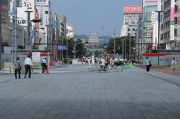 【姫路駅から姫路城を遠望】<p>姫路駅から姫路城を撮影。姫路城の大天守(右)と西小天守(左)が見える。</p> <p>多くの姫路城観光客はこの麗しい光景を目にするだろう(まあ、クレーンも目に入るが、これは改修中なので、仕方がない)。<br>この眺めを設計した方、グッジョブ。</p> <p>なお、姫路駅の辺りが姫路城総構の南淵で、飾磨門(飾磨門)があった。<br>ここ姫路駅から中ノ門までが姫路城外曲輪の南側に当たる。</p>