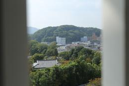<p>姫路城百間廊下から景徳寺公園を撮影。<br>地図で見ると、500m程度か。姫路城の弱点と言われる西側丘陵の一つ。近い。</p>