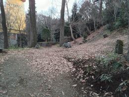 【初沢城】菅原道真公像の曲輪に登る前にある平場。帯曲輪か。