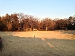 【片倉城】手前が二の丸で、中央の盛り上がっている土塁から本丸。