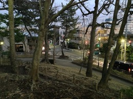 【世田谷城】南東高台の曲輪から南東方向の交差点を撮影。