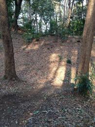 【石神井城】本郭の空堀。正面から。期待以上。