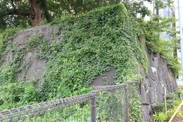 【江戸城】四谷見附の石垣。<br><br>      四谷見附橋から撮影。写真右手(見えないが)にJR四ツ谷駅の出口があり、そこにも石垣があった。その両石垣の間に高麗門が建っていた。