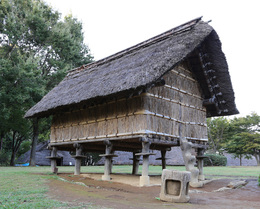 【大塚遺跡】復元された高床倉庫。<br><br>      湿気から穀物などを守るため、床が高くなっている。<br>      また、ネズミを防ぐため、足にはネズミ返しが付いている。