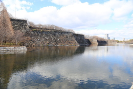 【大阪城】正面が東外堀。最大幅90mとのこと。<br>      左手の石垣が、巽櫓跡。右奥が青屋口。<br><br>      城の水堀は澱んでいることが多いが、東外堀と北外堀は水が比較的きれいだった。