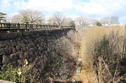 【大阪城】東外堀の巽櫓跡を西に進むと、坂があり、そこを登ったところ。<br>      当日は、高校生くらいの5,6人が坂でトレーニングをしていた。<br><br>      石垣の突き当りには、玉造口がある。<br>      玉造口は、二ノ丸の南東隅に位置する枡形虎口。現在は、一部が残るのみ。
