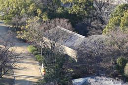 【大阪城】本丸最上階から西の丸にある焔硝蔵を撮影。<br>      焔硝蔵は火薬庫のこと。<br><br>      焔硝蔵の見学を楽しみにしていたが、西の丸は当日閉鎖されていたので、大変残念に思った。が、本丸最上階に登ると焔硝蔵を見ることができた。<br>      ご覧のとおり、側面が石垣でできている。また、資料をよると、内部も石垣でできている。<br><br>      なぜこれほど厳重なのかというと、1660年、焔硝蔵に雷が落ちて大爆発し、死傷者を多数出したからだという。<br>      その反省を反映して、このように耐火性が高い造りになっている。