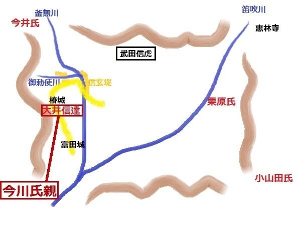 <p>若き武田信虎による甲府盆地統一戦の絵地図。</p> <p>昭和インター辺りから竜王の信玄堤→椿城(上野城)→富田城を歴史サイクリングしたが、黄色の太線がその走行ルート。</p>
