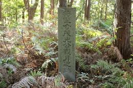 <p>狩野城の「狩野介茂光公観月之跡」と刻まれた石碑。</p>